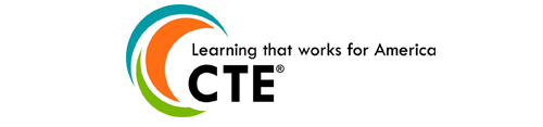 A picture of the logo for Career Technical Education: Learning that works for America.